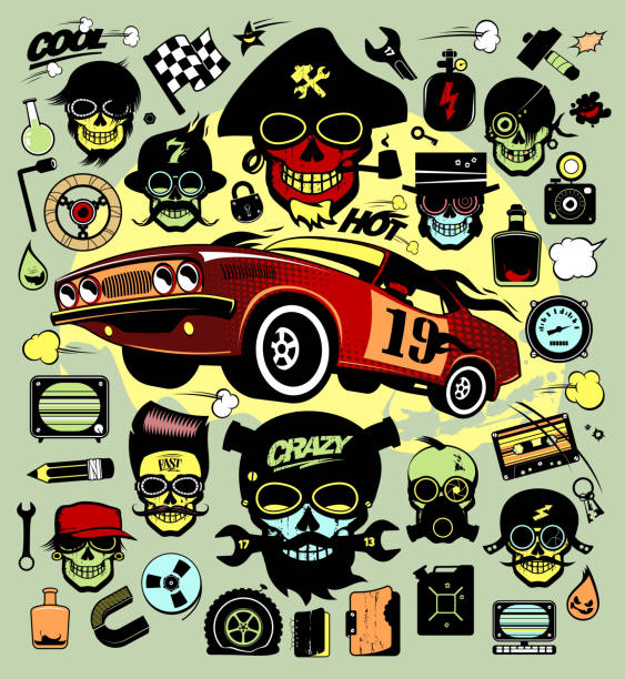 Set of icons and symbols with race car and hipsers vector art illustration