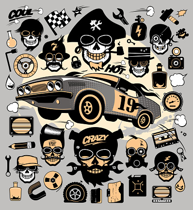 Set of icons and symbols with race car, repair tools, music and garage symbols