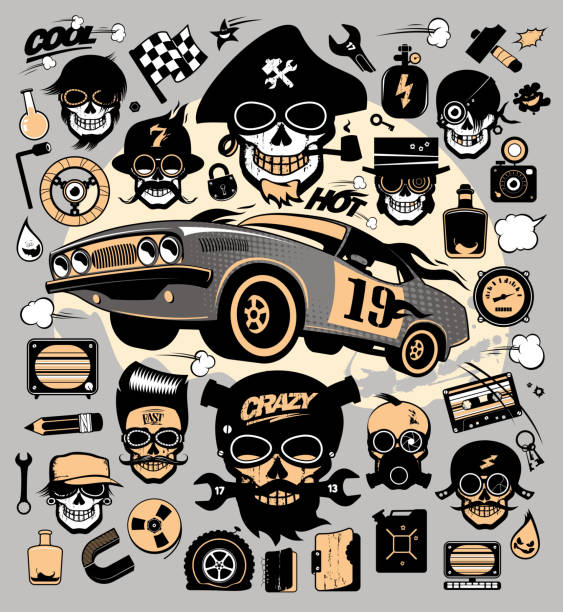 ilustrações de stock, clip art, desenhos animados e ícones de set of icons and symbols with race car, repair tools, music and garage symbols - tape face