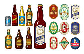 Vector color set of different icons beer bottles and label them