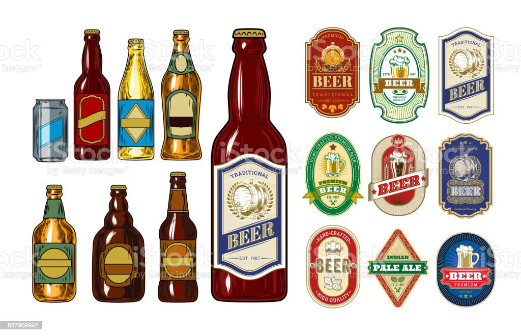 Set of icons beer bottles and label them - illustrazione arte vettoriale
