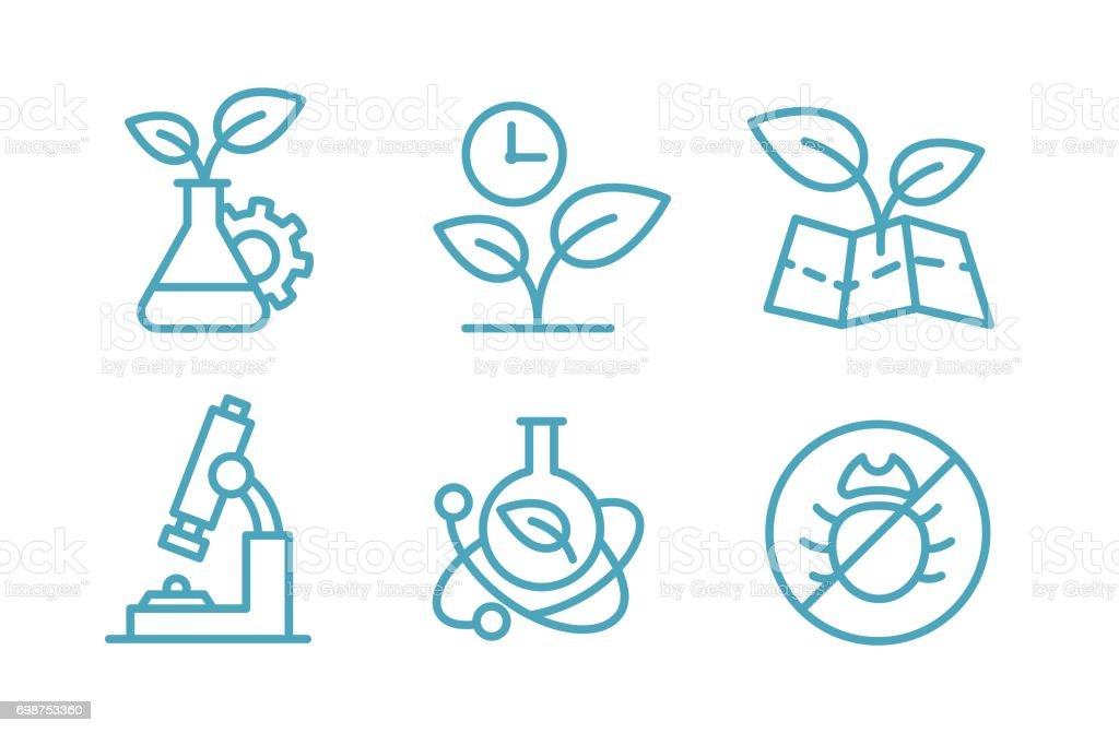 Un conjunto de biotecnología de los iconos. Plantas de Química Biología y frascos. Agricultura y agrónomo - ilustración de arte vectorial
