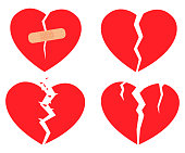 Set of icons Broken heart