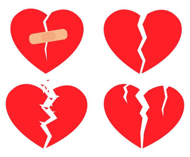 stockillustraties, clipart, cartoons en iconen met set pictogrammen gebroken hart - liefdesverdriet