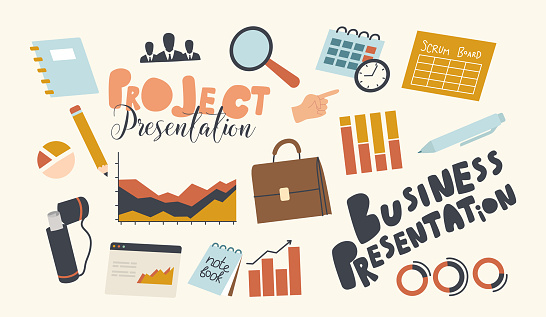Set of Icons Business Presentation of Project Theme. Magnifier, Briefcase, Scrum Board and Data Analysis Graphs, Office