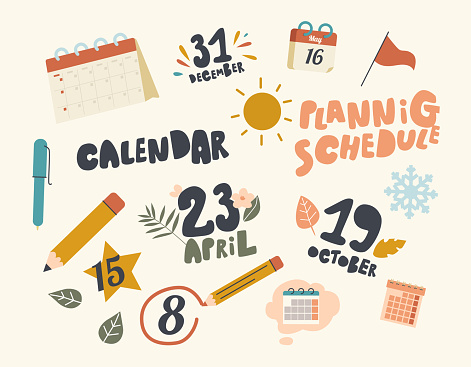Set of Icons Calendar Theme. Table Planner, Pen and Pencil with Circle Important Dates, Sun and Flag with Green Leaves