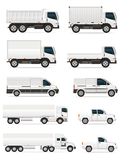 bildbanksillustrationer, clip art samt tecknat material och ikoner med set of icons cars and truck for transportation cargo - truck