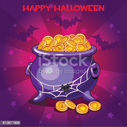 vector set of icons, cartoon llustration pot and coins for Happy Halloween party