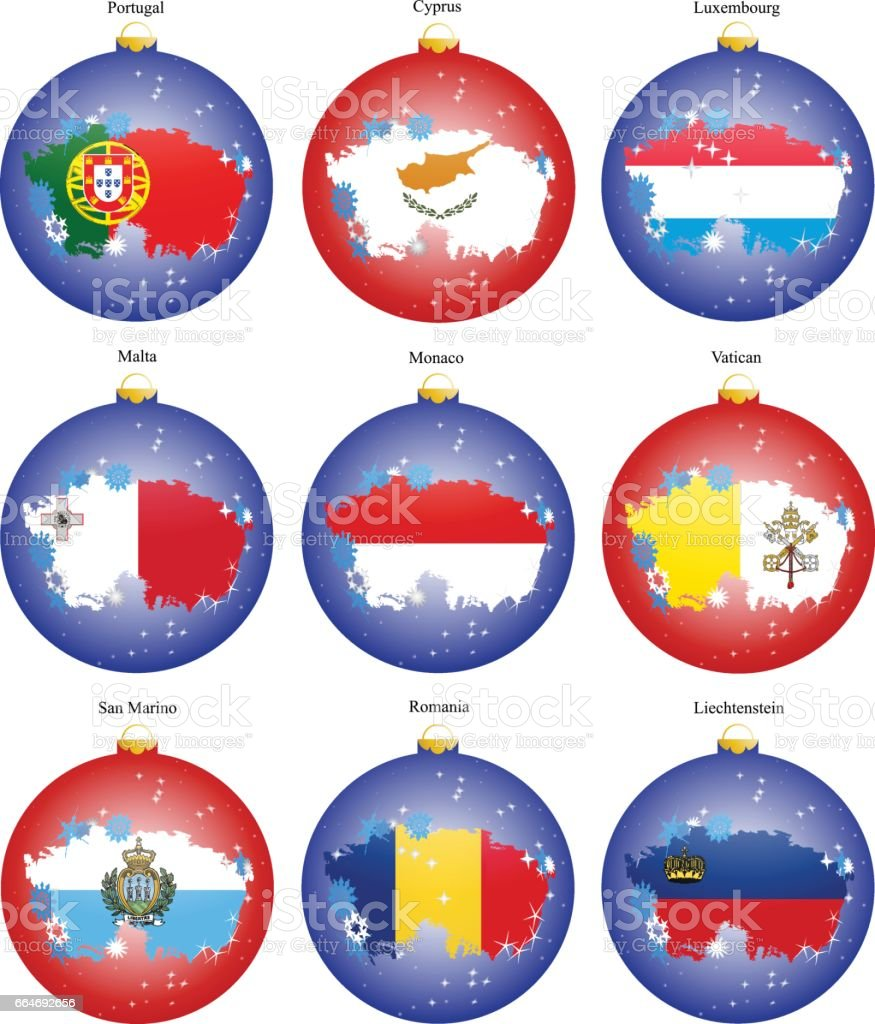 Set of icons. Christmas tree balls with flags of the Europe. vector art illustration