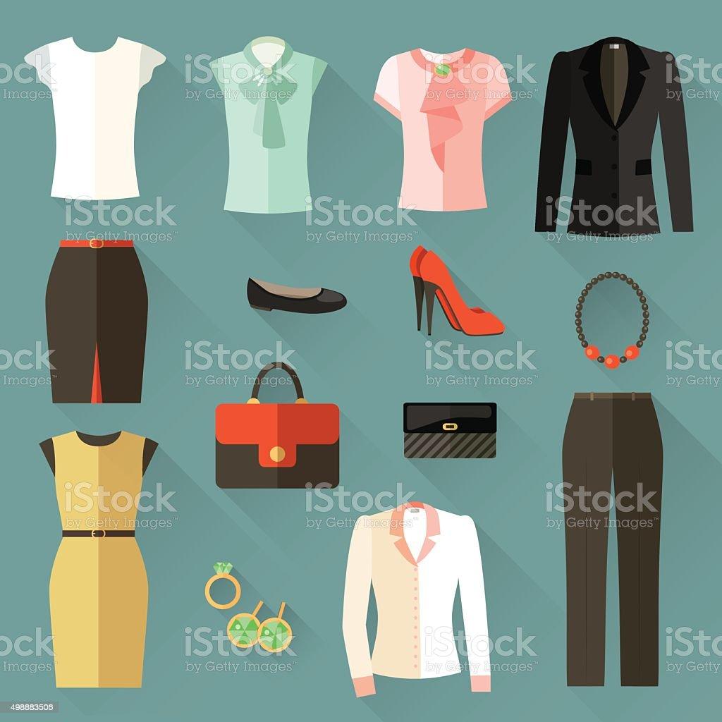 Conjunto de ícones de roupas Mulher de negócios. Vetor ilustração plana - ilustração de arte em vetor