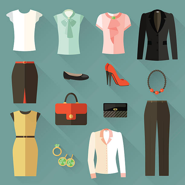 set of icons clothing businesswoman . vector flat illustration - shoes fashion stock illustrations, clip art, cartoons, & icons
