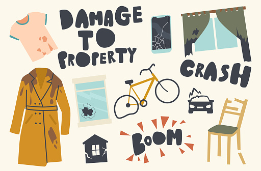 Set of Icons Damage to Property Theme. Crashed Transport Bicycle, Car, Dirty Torn Clothes, Broken Window, Furniture