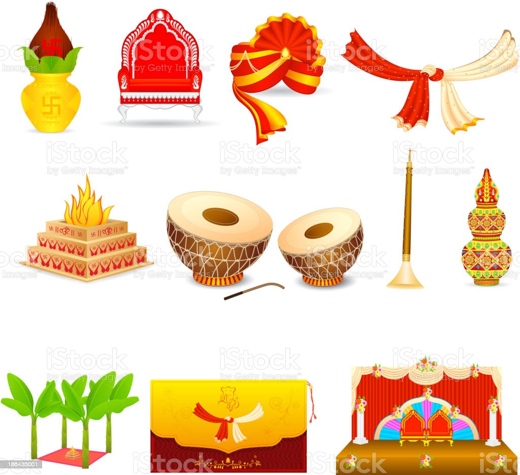 Set of icons depicting an Indian wedding vector art illustration