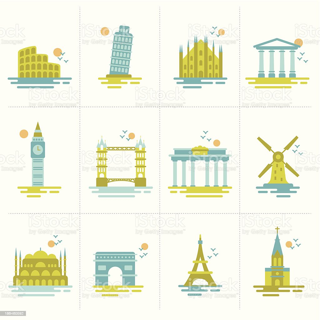 set of icons famous international landmarks. vector art illustration