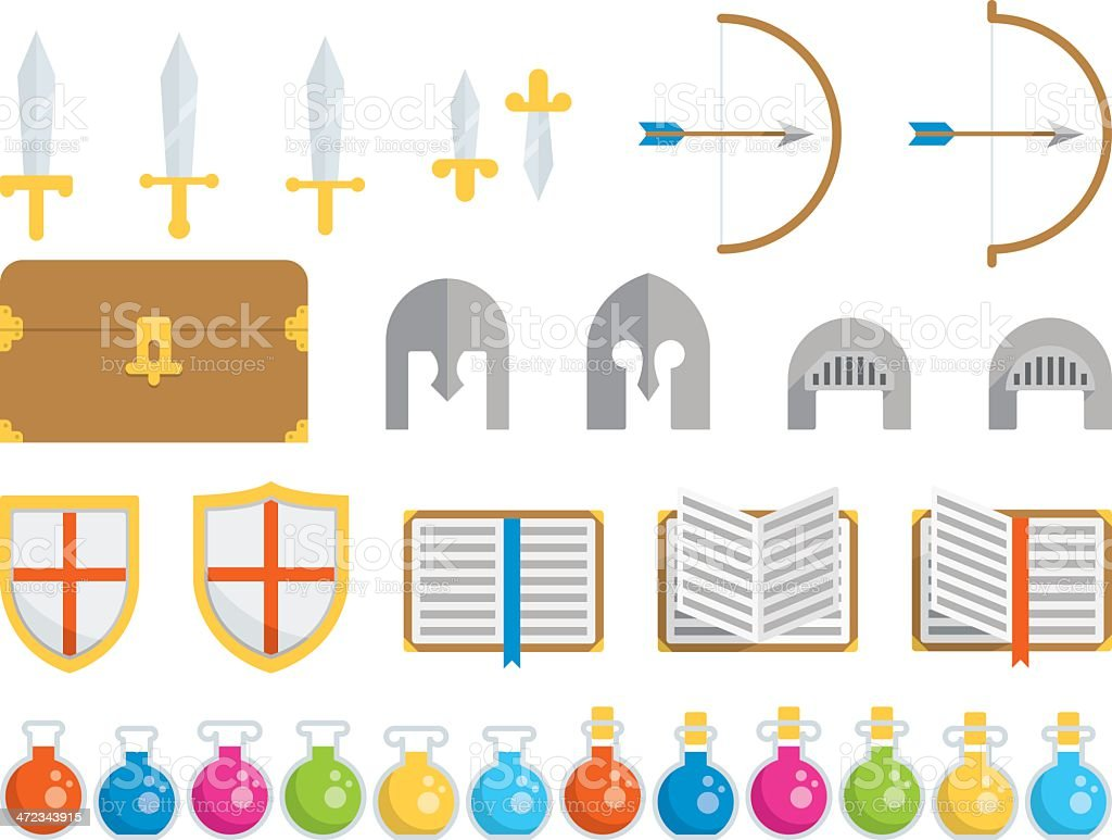 Set of Icons - Fantasy royalty-free set of icons fantasy stock vector art & more images of arrow - bow and arrow