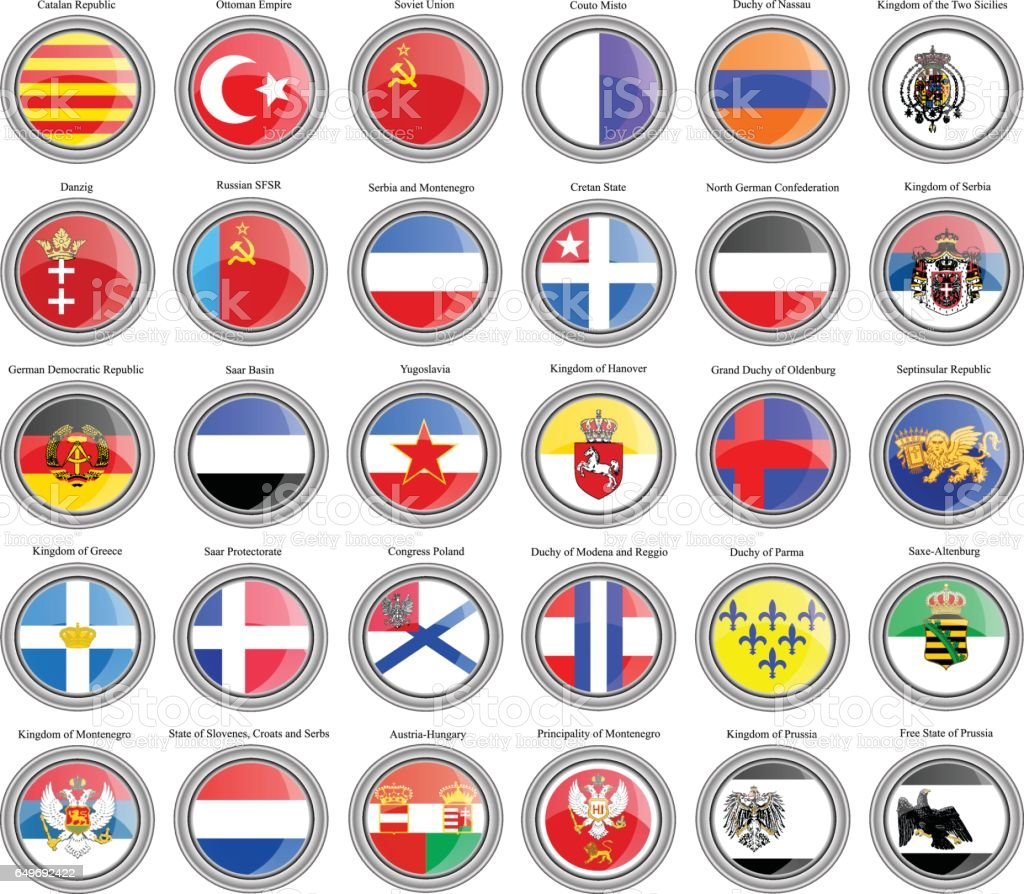 Set of icons. Flags of former countries in Europe vector art illustration