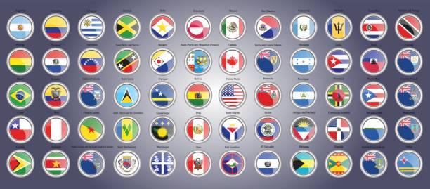Set von Icons. Flaggen der Nord-, Süd- und Mittelamerika. – Vektorgrafik