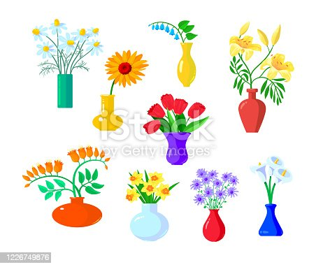istock Set of Icons Flowers Chamomile, Gerber and Tulip, Lilly , Daffodil, with Narcissus Stand in Vases Isolated on White Background. Beautiful Spring and Summer Blossoms. Cartoon Vector Illustration 1226749876