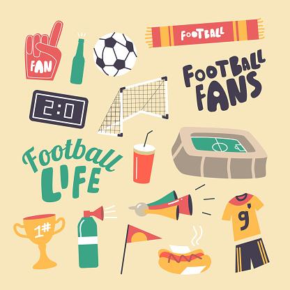 Set of Icons Football Fans Attribution Theme. Soccer Ball, Gates and Stadium, Winner Cup, Sportsman Uniform, Soda Drink