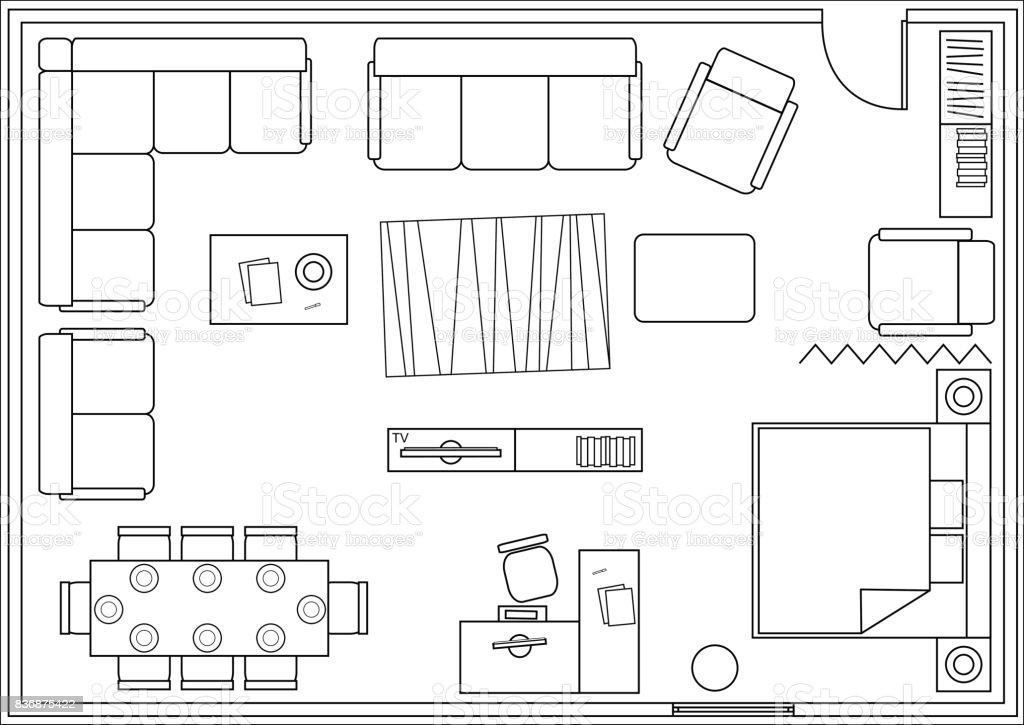 Ilustraci n de set de iconos para planos arquitect nicos y for Libros de planos arquitectonicos