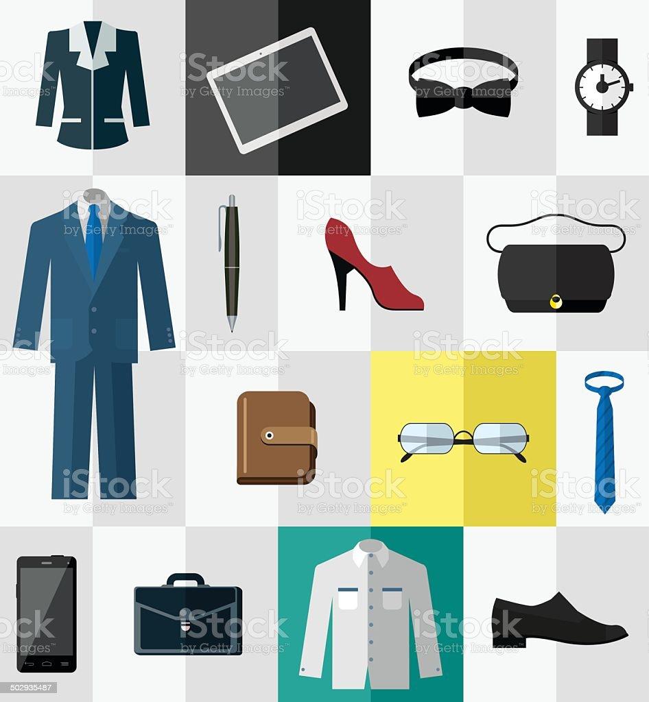 Reihe von icons für business-Kleidung und Accessoires – Vektorgrafik