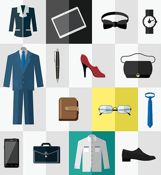 reihe von icons für business-kleidung und accessoires - damenmode stock-grafiken, -clipart, -cartoons und -symbole