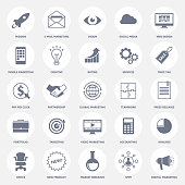 Set of icons for business for website of company