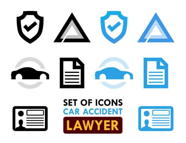 bildbanksillustrationer, clip art samt tecknat material och ikoner med uppsättning ikoner för bil olycka advokat - krockad bil