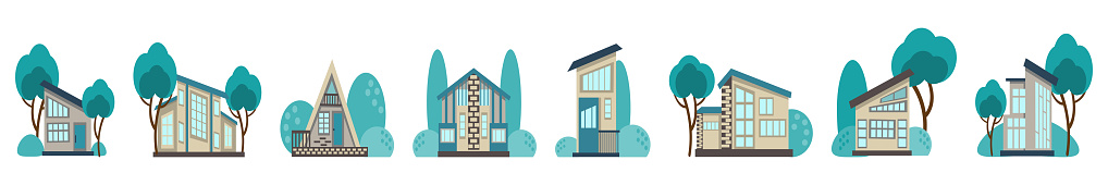 set of icons for ecological houses.  horizontal border of cute houses surrounded by greenery, drawn in a cartoon style, isolated on a white background. Vector illustration in a flat style.