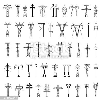 Set of icons for Electric towers and pillars. Black silhouettes isolated on a white background in a simple flat style for design and web.