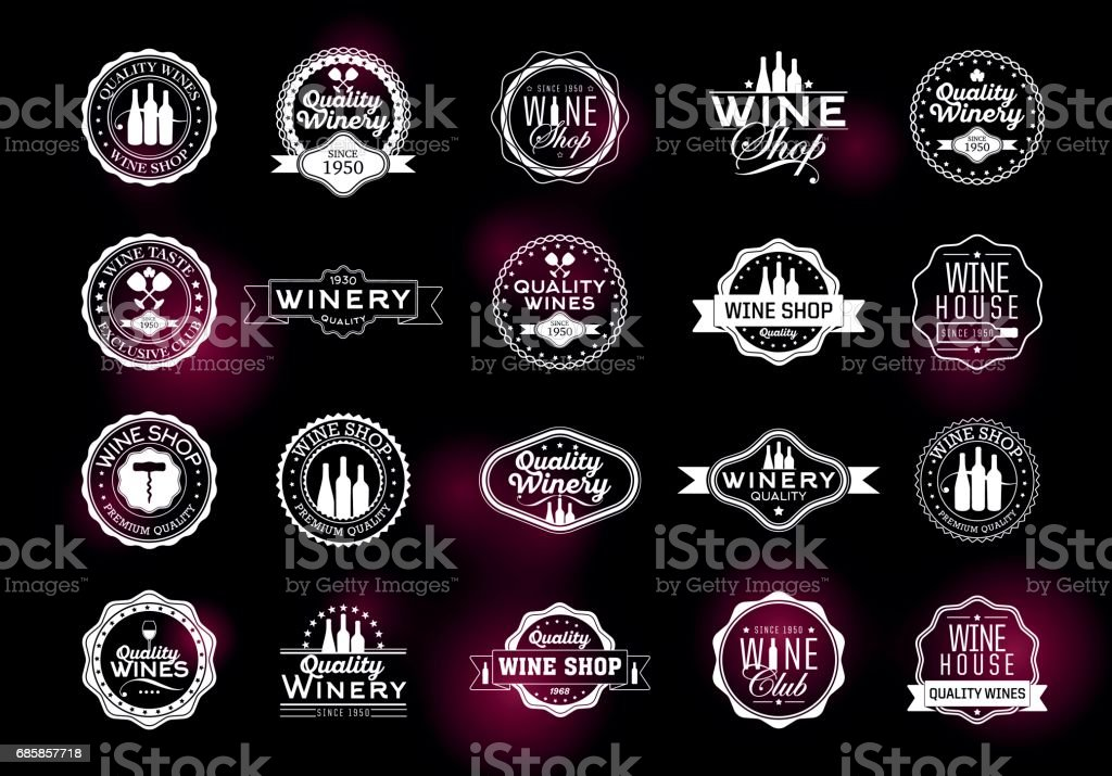 Set of icons for its wine business vector art illustration