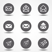 Set of icons for messages. Vector illustration. Signs for infographic, logo, app development and website design.