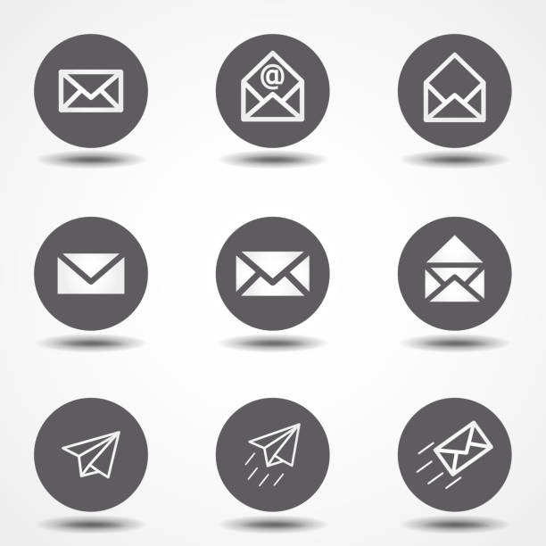 set of icons for messages. vector illustration. signs for infographic, logo, app development and website design. - email icon stock illustrations, clip art, cartoons, & icons