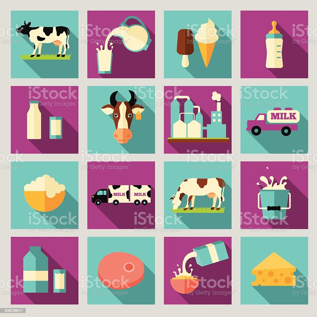 Set of icons for milk. Dairy products, production, range vector art illustration