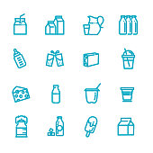 Set of vector line icons for milk