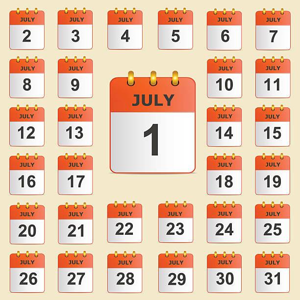 Set of icons for the calendar in July – Vektorgrafik