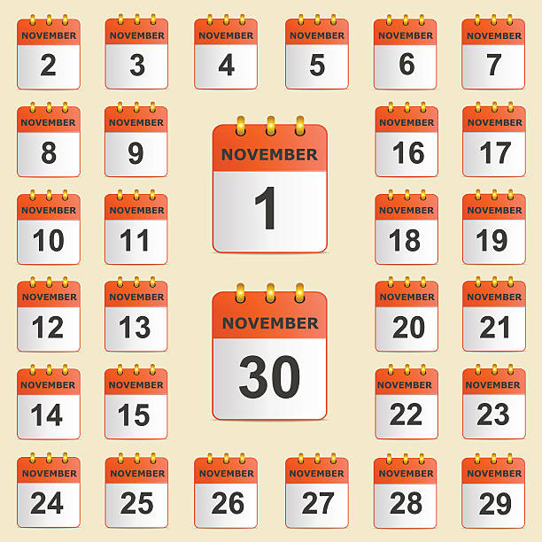 Set of icons for the calendar in November – Vektorgrafik