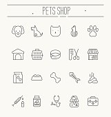 Set of icons for vet clinic, pet shop, dog training or dog shelter. Element for web site or mobile app. Vector illustration in modern flat line style.