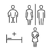 Set of icons for WC the bathroom. Vector set of symbols.