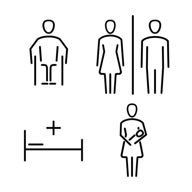 Set of icons for WC the bathroom Set of icons for WC the bathroom. Vector set of symbols. bathroom silhouettes stock illustrations