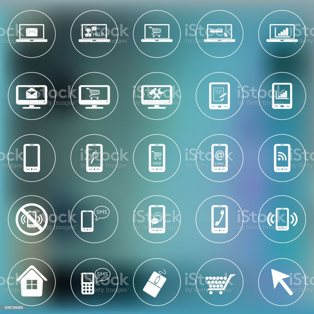 Set of icons for web and mobile. Smartphone, laptop, monitor royalty-free stock vector art