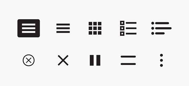 Set of Icons for Website Menu Navigation. Vector Set of UI Design Elements. Interface Design Vector Icon Set of hamburger Menu. Website Navigation Icons for Mobile App and User Interface.