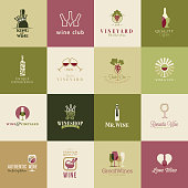 Set of vector icons for wine