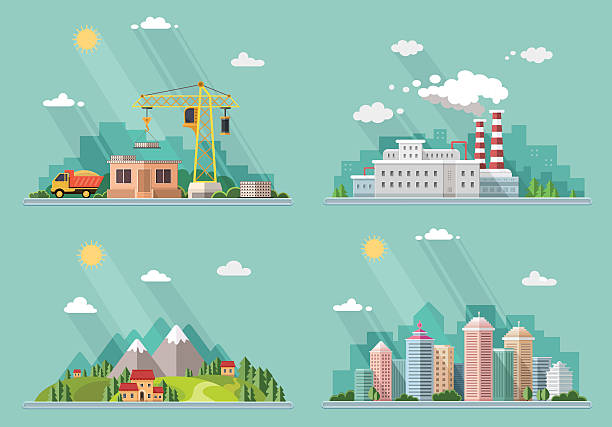 set of icons for your design. flat style vector illustration. - industry infographics stock illustrations