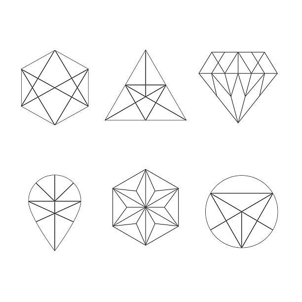 ilustraciones, imágenes clip art, dibujos animados e iconos de stock de conjunto de iconos y logotipo de geométrico - tatuajes de diamantes