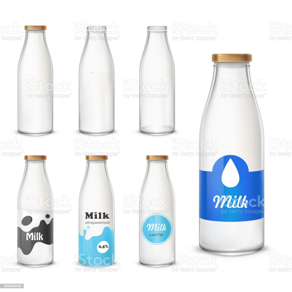 Set of icons glass bottles with a milk In a realistic style vector art illustration