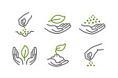 Growing seedlings in hand. Plant shoots. Set of icons. Agriculture and gardener horticulturist. Environmental protection. Vector outline contour green line.