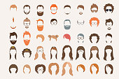 Set of icons. Hearstyle and beards.