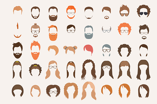 Set Of Icons Hearstyle And Beards Stock Vector Art & More ...