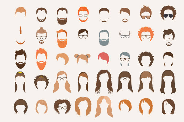 set of icons. hearstyle and beards. - 힙스터 사람 stock illustrations